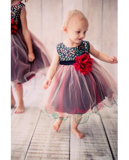 Multi-Sequin Trio Color Tulle Dress